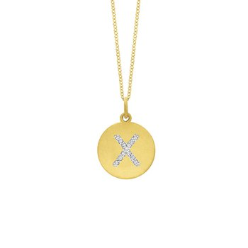 "Diamond Disc Initial ""X"" Necklace in 14k Yellow Gold with 13 Diamonds weighing .07ct tw."