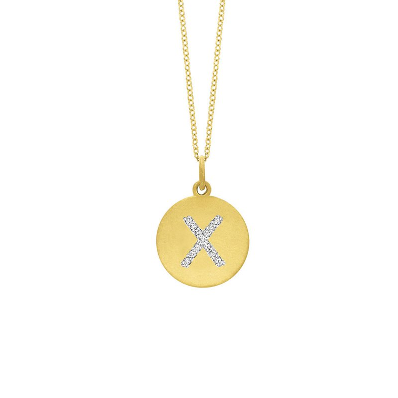 "KC Designs Diamond Disc Initial ""X"" Necklace in 14k Yellow Gold with 13 Diamonds weighing .07ct tw."