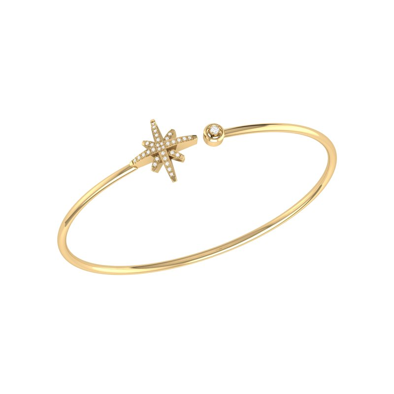 Luv My Jewelry North Star Cuff in 14 KT Yellow Gold Vermeil on Sterling Silver