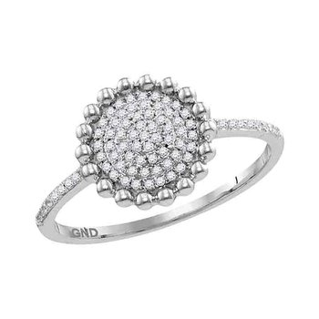 10kt White Gold Womens Round Diamond Beaded Circle Cluster Ring 1/8 Cttw