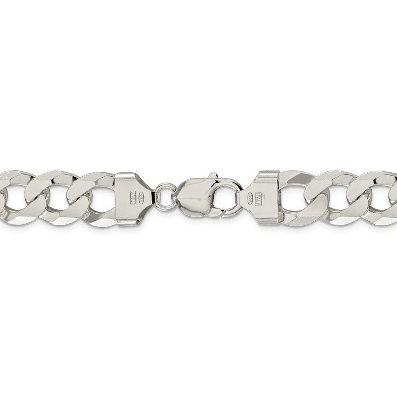 Sterling Silver 13mm Beveled Curb Chain