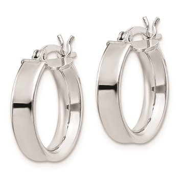 Sterling Silver Rhodium Plated 4x16mm Hoop Earrings