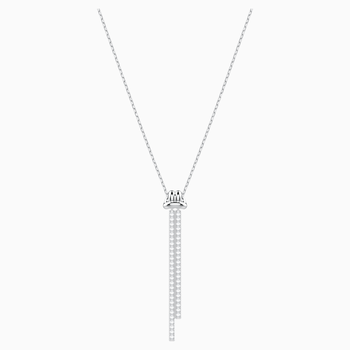 Lifelong Y Pendant, White, Rhodium plated