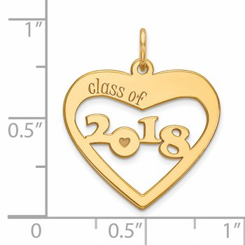 14k Class of 2018 Heart Cut Out