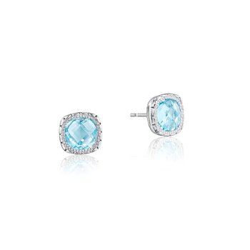 Cushion Gem Earrings with Sky Blue Topaz