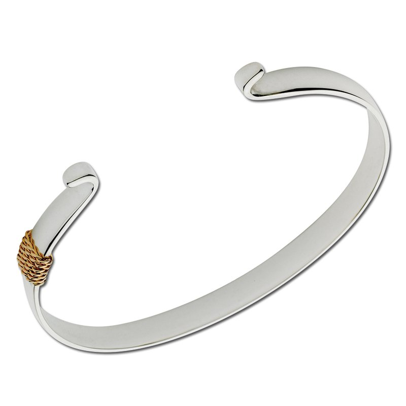 Lestage Two Tone Wide Polished Bracelet