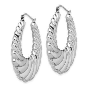 Sterling Silver Rhodium-plated Fancy Shrimp Hoop Earrings