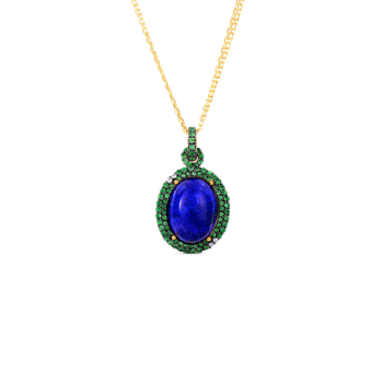 18KT GOLD ART DECO DROP PENDANT WITH LAPIS AND TSAVORITE