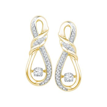 10kt Yellow Gold Womens Round Diamond Moving Twinkle Solitaire Twist Ribbon Earrings 1/3 Cttw