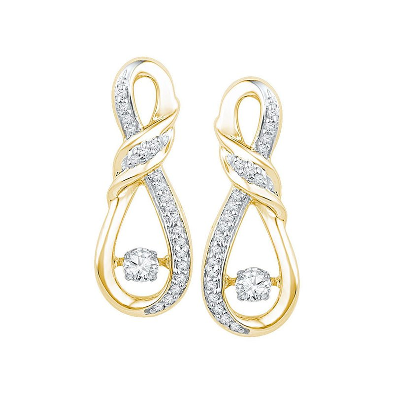 Gold-N-Diamonds, Inc. (Atlanta) 10kt Yellow Gold Womens Round Diamond Moving Twinkle Solitaire Twist Ribbon Earrings 1/3 Cttw