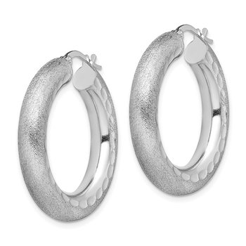 Sterling Silver Rhodium-plated Diamond-cut Polished/Satin 5mm Hoop Earrings