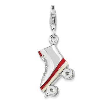 Sterling Silver And Enameled Roller Skate Charm