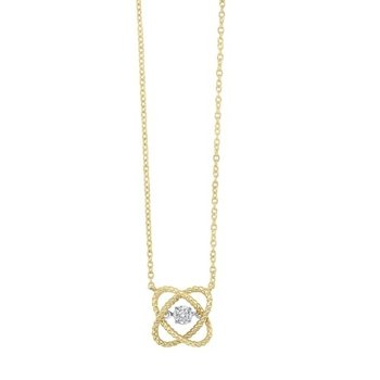 Diamond Solitaire Twisted Rope Love Knot Pendant Necklace in Yellow Gold (0.05ctw)