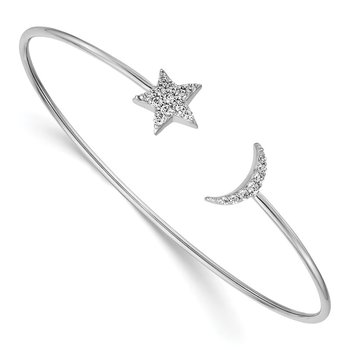 14k White Gold Diamond Moon and Star Flexible Cuff Bangle