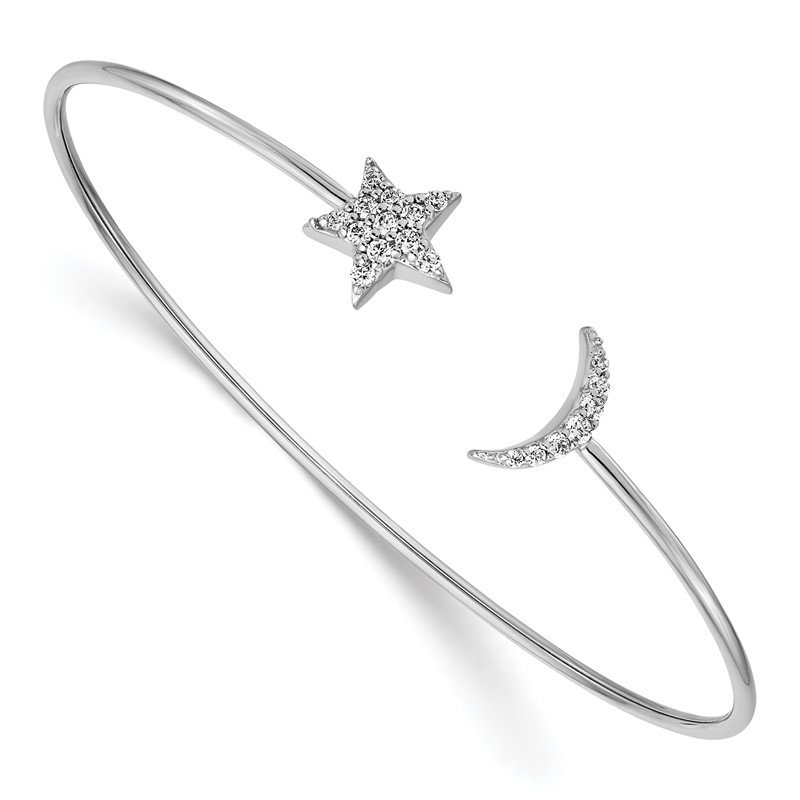Quality Gold 14k White Gold Diamond Moon and Star Flexible Cuff Bangle