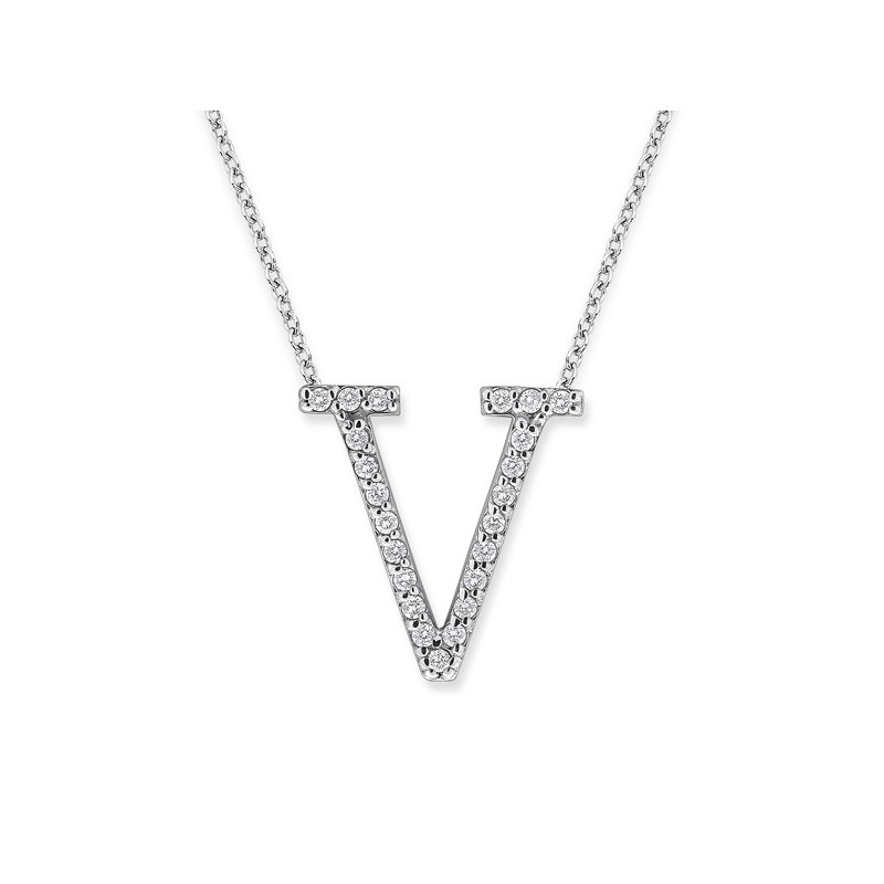 "KC Designs Diamond All Star Initial ""V"" Necklace in 14K White Gold with 23 diamonds weighing .23ct tw."