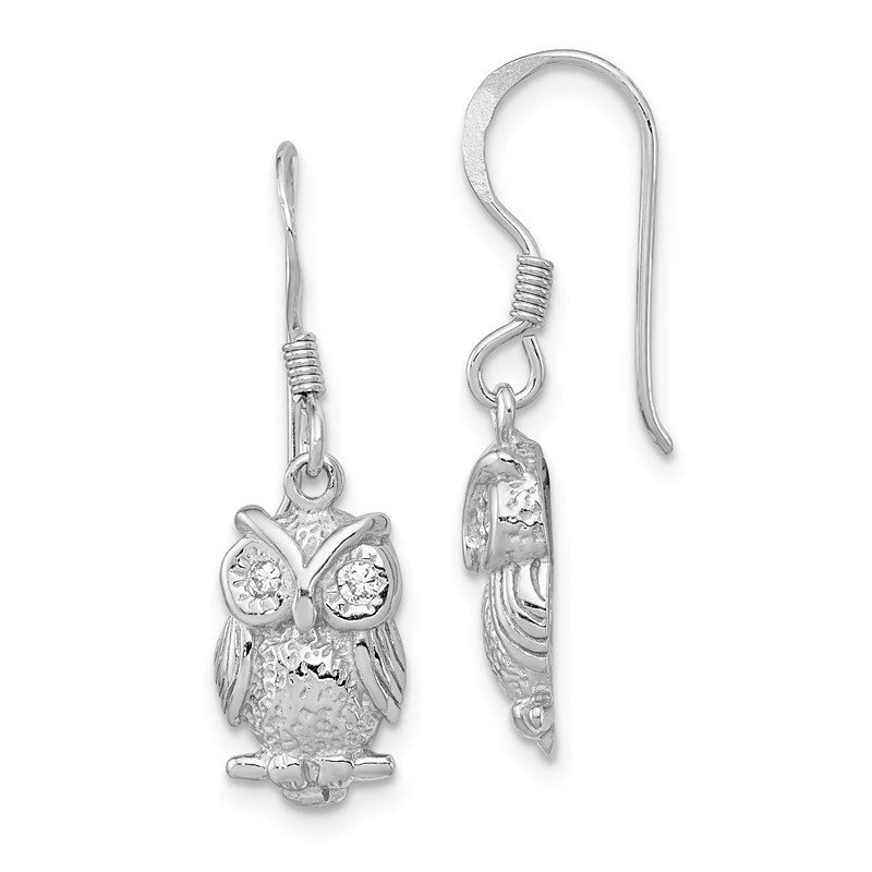 Quality Gold Sterling Silver Rhodium-plated CZ Owl Shepherd Hook Earrings