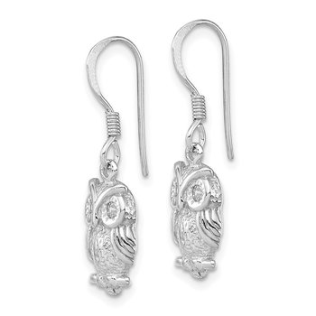 Sterling Silver Rhodium-plated CZ Owl Shepherd Hook Earrings
