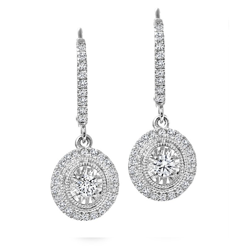 Canadian Rocks Oval Design Diamond Accent Earrings