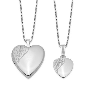 Sterling Silver RH-plated Polished Swirl Design Heart Locket & Pendant Set