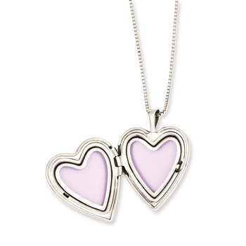 Sterling Silver Rhodium-plated Polished Swirl Design Heart Locket & Pendant