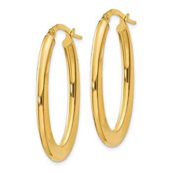 14k 2mm Tapered Oval Polished Hoop Earrings