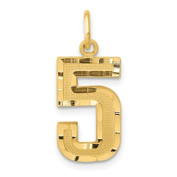 14ky Casted Medium Diamond Cut Number 5 Charm