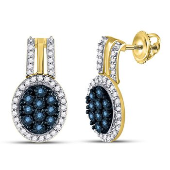 10kt Yellow Gold Womens Color Enhanced Blue Diamond Oval Cluster Earrings 3/4 Cttw