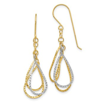 14K Two-tone Diamond Cut Tear Drop Shepherd Hook Earrings