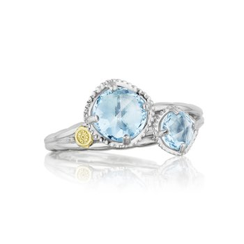 Budding Brilliance Duo Ring featuring Sky Blue Topaz