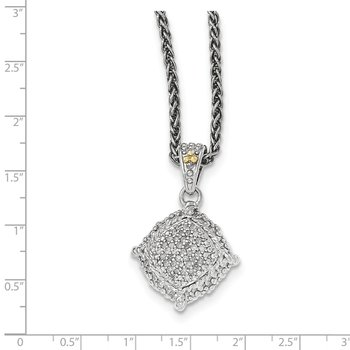 Sterling Silver w/14k Diamond Necklace