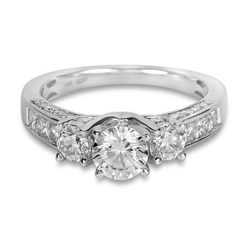 14K WG Diamond Engagement Ring - SEMI MOUNT