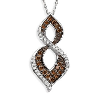 Pave set Cognac and White Diamond Entwined Pendant, 14k White Gold  (1/3 ct. dtw.)