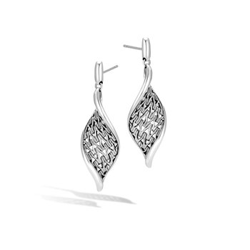 Classic Chain Wave Drop Earring in Silver
