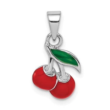 Sterling Silver Rhodium-plated Childs Enameled Cherry Pendant