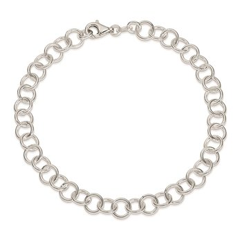 Sterling Silver 10inch Polished Fancy Link Anklet
