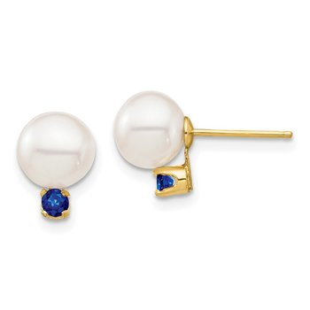 14K 7-7.5mm White Round Freshwater Cultured Pearl Sapphire Post Earrings