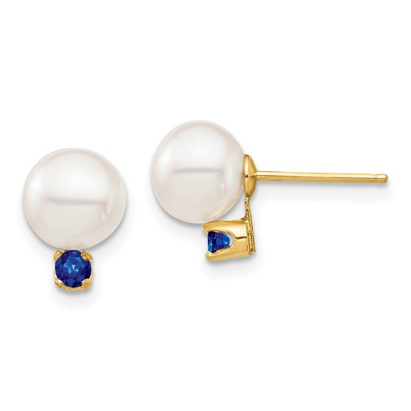 Quality Gold 14K 7-7.5mm White Round Freshwater Cultured Pearl Sapphire Post Earrings