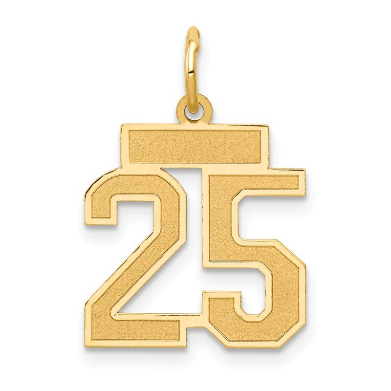 Quality Gold 14k Small Satin Number 25 Charm