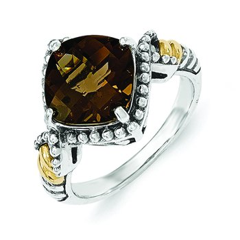 Sterling Silver w/14ky Smoky Quartz Cushion Ring