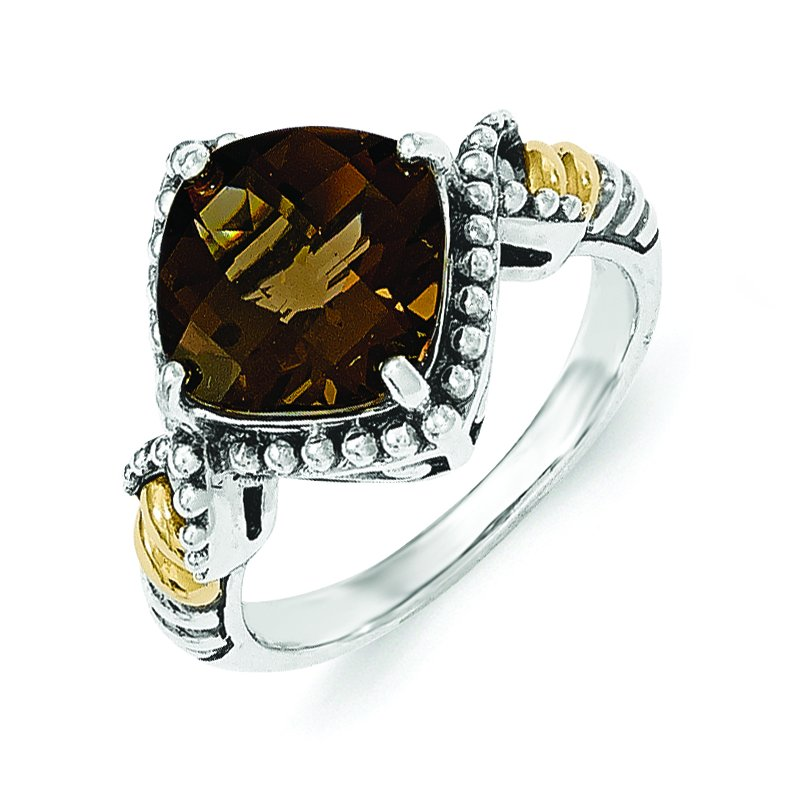 Shey Couture Sterling Silver w/14ky Smoky Quartz Cushion Ring