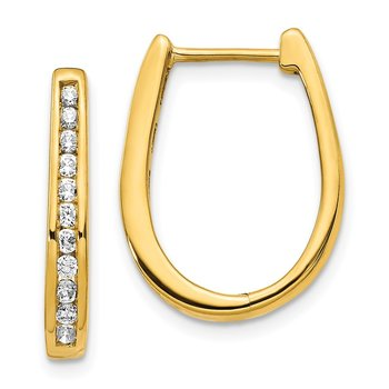 14k Diamond Oval Hinged Hoop Earrings