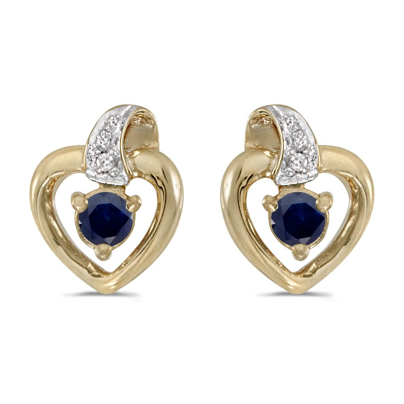 Color Merchants 10k Yellow Gold Round Sapphire And Diamond Heart Earrings
