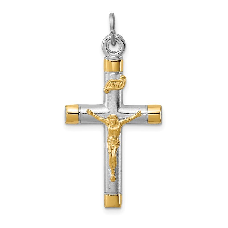 Sterling Silver Rhodium-plated /& 18k Gold-plated Crucifix Pendant