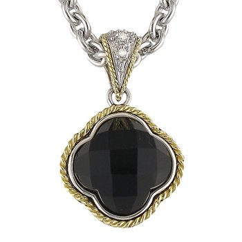 18kt and Sterling Silver Black Onyx Clover Diamond Pendant with Chain