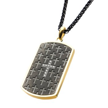 Stainless Steel Black Plated and Gold Plated Dog Tag with Cross Pendant with Chain