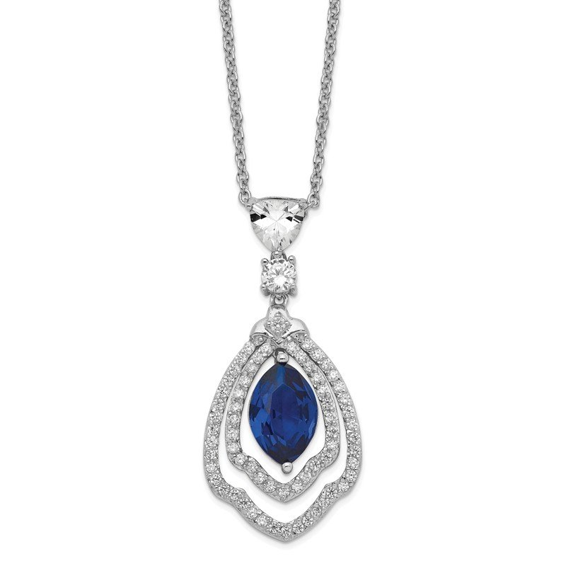 Cheryl M Cheryl M Sterling Silver Lab created Dark Blue Spinel & CZ 18in Necklace