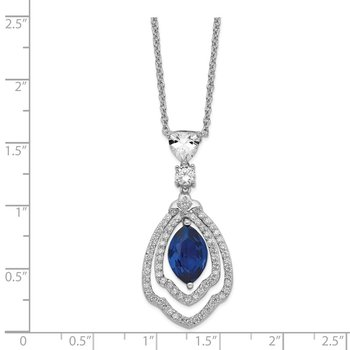 Cheryl M SS Rhodium Plated Created Dark Blue Spinel & CZ 18in Necklace