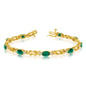 14k Yellow Gold Natural Emerald And Diamond Tennis Bracelet