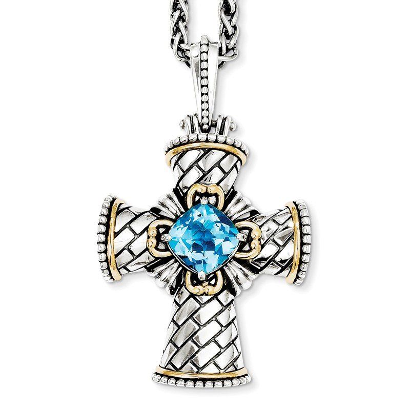 Shey Couture Sterling Silver w/14k Swiss Blue Topaz Cross Necklace